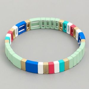 MINT TILE BLOCK BEAD COLORFUL STRETCH BRACELET
